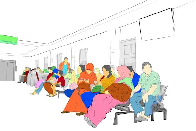Mensen in de wachtkamer in het ziekenhuis