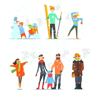Mensen in de winter en activiteiten. illustratie.