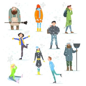 Mensen in de winter. winteractiviteiten. illustratie.