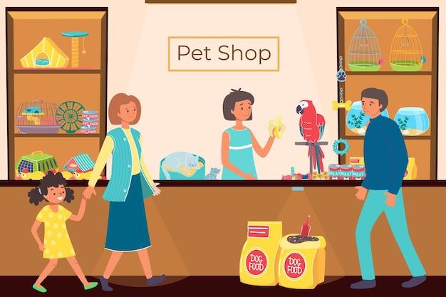 Mensen in dierenwinkel, winkel met dieren