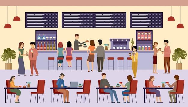 Mensen in een café. lunchpauze. dranken. koffietijd.