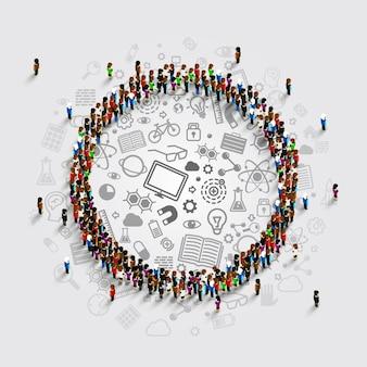 Mensen in een cirkel met veel pictogrammen. vector illustratie