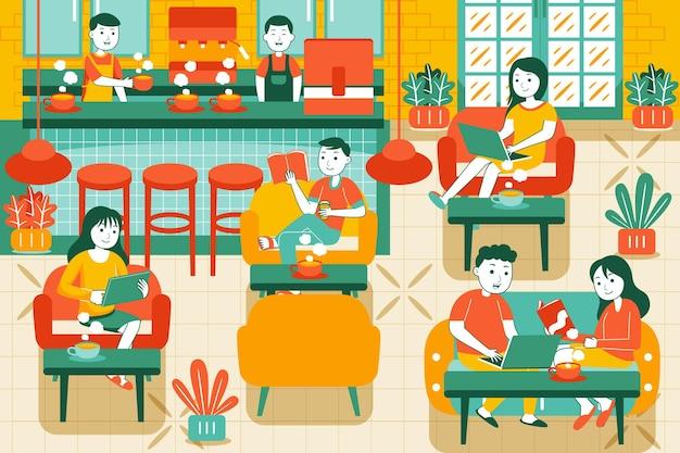 Mensen in een gezellig café in vlakke stijl