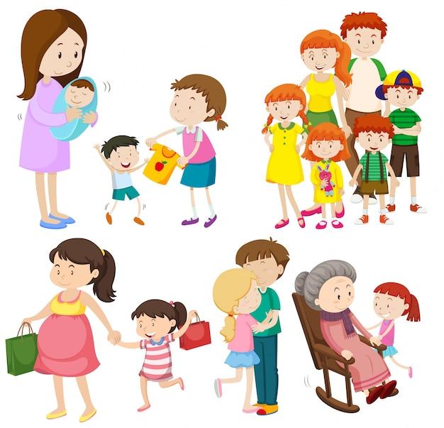Mensen in familie op verschillende generaties illustratie