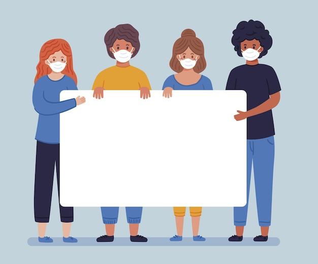 Mensen in gezichtsmaskers met geïllustreerde plakkaten