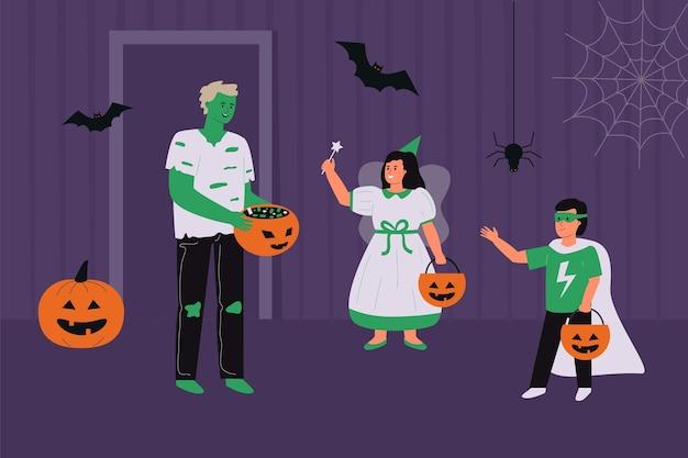 Mensen in griezelige halloweenkostuums