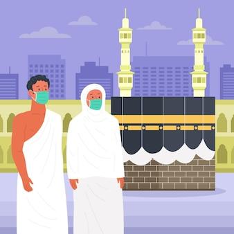 Mensen in hadj-bedevaartillustratie met gezichtsmasker