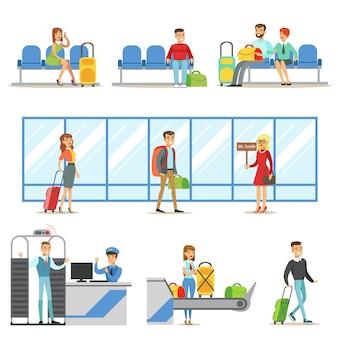 Mensen in het interieur van de luchthaven, veiligheidsprocedures doorstaan, wachten op de vlucht en aankomen op bestemming