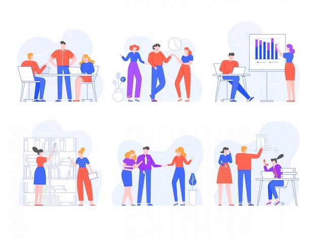 Mensen in het kantoor. training, presentaties, ontmoeten en brainstormen, kantoormedewerkers in verschillende bedrijfssituaties. collega's chatten op de werkplek. collega's bespreken werkproces