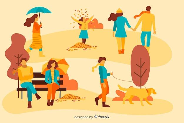 Mensen in het najaar park