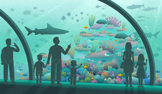 Mensen in het oceanarium. ouders en kinderen kijken naar oceaanvissen en zeebewoners. een verscheidenheid aan onderwaterflora en -fauna. vectorillustratie in cartoon-stijl