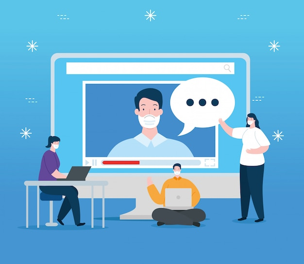 Mensen in het onderwijs online met computer illustratie ontwerp