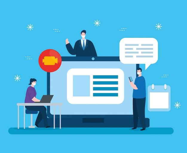 Mensen in het onderwijs online met laptop illustratieontwerp