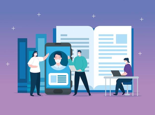 Mensen in het onderwijs online met smartphone illustratie ontwerp