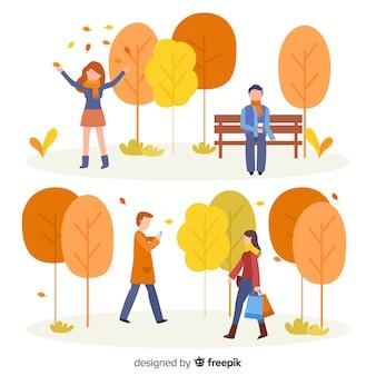 Mensen in het park in de herfstinzameling