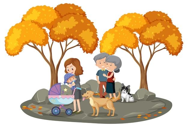 Mensen in het park met veel herfstbomen geïsoleerd