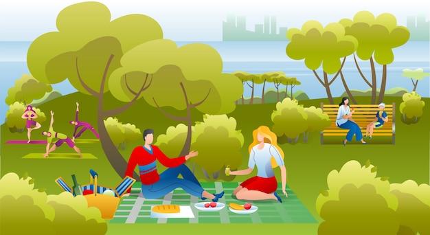 Mensen in het park, op een picknick met plezier, vrije tijd en rust in de zomeraard, yoga-oefeningen doen en fitness, illustratie eten. paar met picknick in park, ontspannen op een zonnige dag.