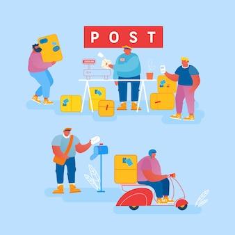Mensen in het postkantoor sturen brieven en pakketten. postbodes bezorgen post en pakketten aan klanten.