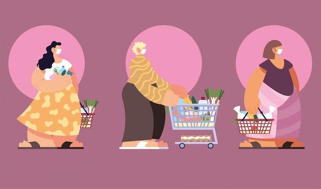 Mensen in het winkelen van de supermarkt, sociale afstand door coronavirus