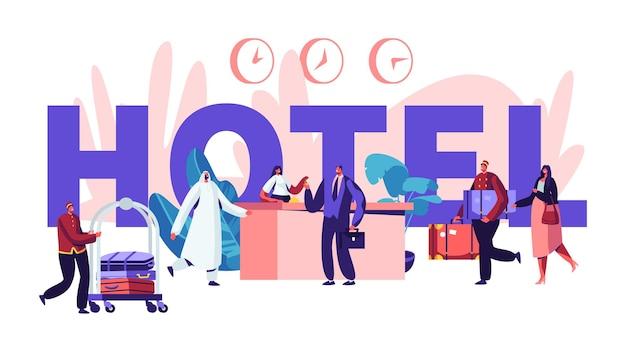 Mensen in hotel concept. receptie, lobbyinterieur met spullen voor arabische en europese gasten. tekens die aankomen in het hotel