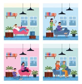Mensen in huis plaatsen scènes