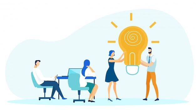 Mensen in kantoor bespreken bedrijfsidee plat.