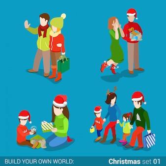 Mensen in kerstmanhoeden met kerstmisgiften en het winkelen zakken vectorillustratie.