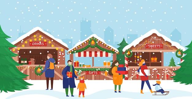 Mensen in kerstmarkt illustratie.
