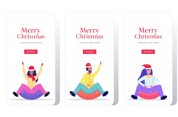 Mensen in kerstmutsen rodelen op sneeuw rubberen buis vrolijk kerstfeest gelukkig nieuwjaar wintervakantie activiteiten concept smartphone schermen instellen online mobiele app