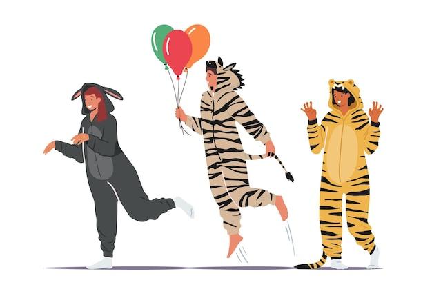 Mensen in kigurumi-pyjama's, jonge mannen en vrouwen dragen dierenkostuums: ezel, zebra en tijger met ballonnen. tieners fun at home party, halloween of nieuwjaarsviering. cartoon vectorillustratie