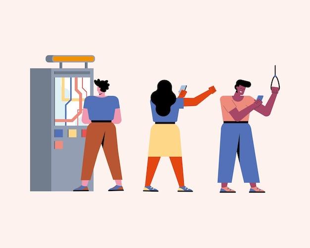 Mensen in kioskkarakters voor metrokaartjes