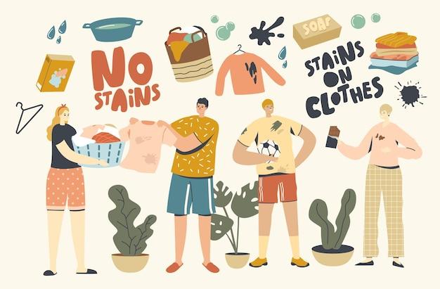 Mensen in kleding met vlekken. mannelijke vrouwelijke personages bevlekken kleding met voedsel tijdens het eten, bodemvlekken na voetbalwedstrijd. huisvrouw met bassin gaat vuil linnen schoonmaken. lineaire vectorillustratie