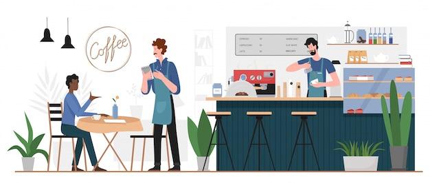 Mensen in koffiehuis bar illustratie. platte man stripfiguur zitten aan café tafel, koffie drinken of eten desserts bestellen van ober, barista permanent aan toog interieur achtergrond