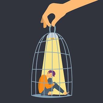 Mensen in kooi. depressieve man, hand met cel met trieste jongen en lamp. psychische stoornis, angst of geweld vector metafoor. illustratie depressie en psychologische controle, stoornis emotie
