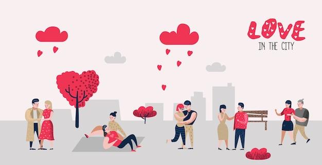Mensen in love characters voor poster