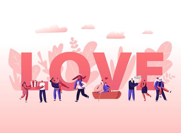 Mensen in love concept. cartoon vlakke afbeelding