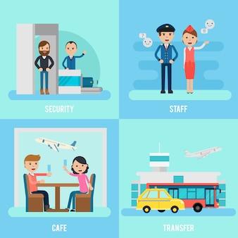 Mensen in luchthaven flat concept