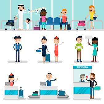 Mensen in luchthaven set
