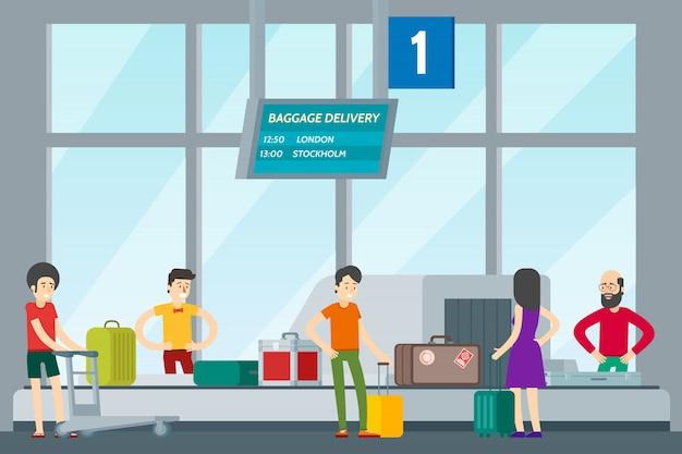 Mensen in luchthaven template