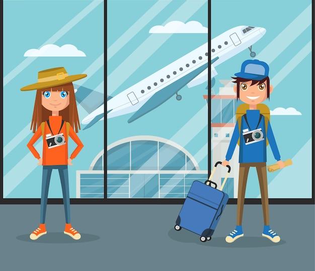 Mensen in luchthaventerminal.