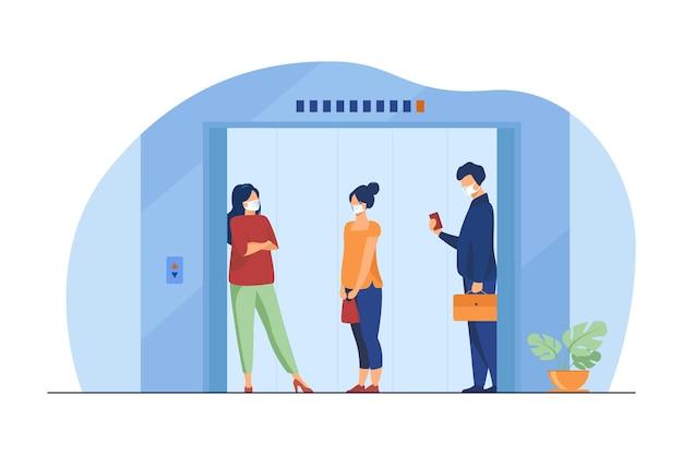 Mensen in maskers in de liftcabine. afstand houden, openbare ruimte, vervoer platte vectorillustratie. epidemie, veiligheid, virus