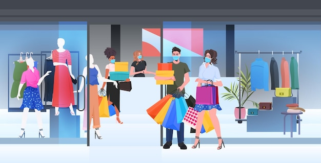 Mensen in maskers lopen met aankopen zwarte vrijdag grote verkoop promotie korting concept winkelcentrum interieur volledige lengte horizontale vectorillustratie