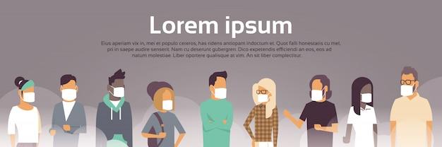 Mensen in maskers voor vervuiling sjabloon voor spandoek