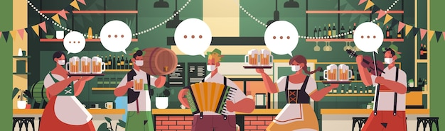 Mensen in medische maskers die bier drinken en muziekinstrumenten bespelen