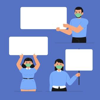 Mensen in medische maskers met geïllustreerde borden