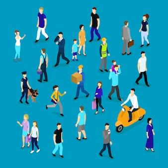 Mensen in menigte isometrische collectie
