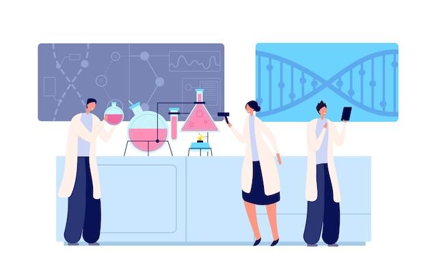 Mensen in onderzoekslaboratorium. lab testen, klinische vrouwen studentenonderwijs. chemie of farmaceutisch, medisch wetenschappelijk vectorconcept. illustratie medisch onderwijs, geneeskunde scheikunde