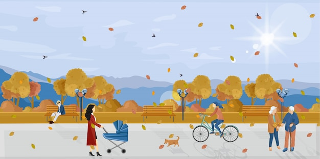Mensen in park herfst vlakke stijl