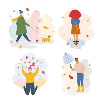Mensen in park in de herfst