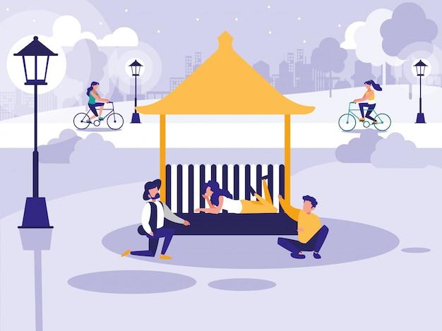 Mensen in park met kiosk
